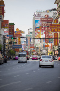 BANGKOK THAILAND - JAN1,2018 : traffic in yaowatch road most important china town in heart of bangkok thailand capital