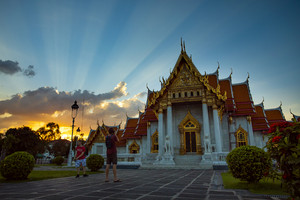 bangkok thailand - october27,2018 : tourist taking a photograph in front of wat benchamabophit ,marble temple one of most popular traveling destination in bangkok thailand