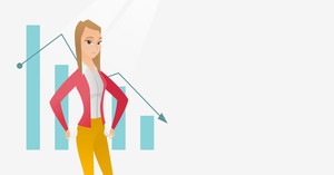 Bankrupt business woman showing empty pockets on the background of decreasing chart. Bankrupt turning empty pockets inside out. Bankruptcy concept. Vector flat design illustration. Horizontal layout.