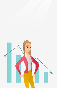 Bankrupt business woman showing her empty pockets on the background of decreasing chart. Bankrupt turning empty pockets inside out. Bankruptcy concept. Vector flat design illustration. Vertical layout