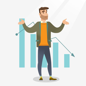 Bankrupt businessman standing on a background of decreasing chart. Bancrupt businessman unaware what to do with bankruptcy. Business bankruptcy concept. Vector flat design illustration. Square layout.
