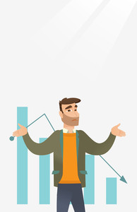 Bankrupt businessman standing on the background of decreasing chart. Bancrupt businessman unaware what to do with bankruptcy. Bankruptcy concept. Vector flat design illustration. Vertical layout.