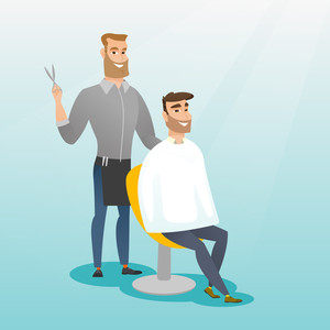 Barber cutting hair of young hipster man with beard at barbershop. Professional barber making haircut to a male client with scissors in barbershop. Vector flat design illustration. Square layout.