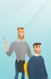 Barber cutting hair of young hipster man with beard at barbershop. Professional barber making haircut to a male client with scissors in barbershop. Vector flat design illustration. Vertical layout.