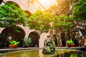 BARCELONA, SPAIN - April 26, 2018: Famous Patio of Palau del Lloctinent. Barcelona Spain