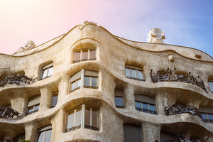 BARCELONA, SPAIN - April 26: Casa Milla, details of the facade of the house made by the architect Antonio Gaudi in Barcelona, Spain