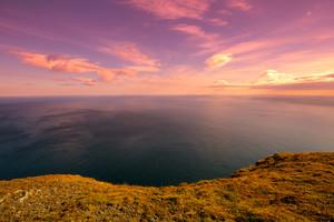Barents sea at sunset at North Cape. Nordkapp, Norway