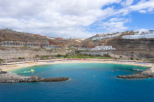 Beautiful Amadores beach at Gran Canaria from the Air