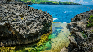Beautiful Cliff Formation with Yellow Pool, Bizarre Place, Nusa Penida Bali Indonesia