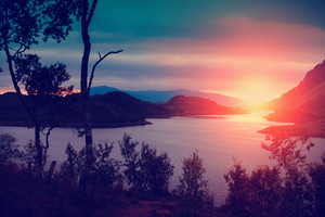 Beautiful fjord at sunset light