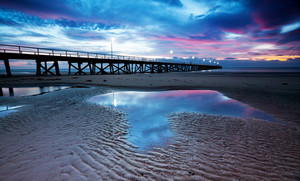 Beautiful pink sunset at the beach