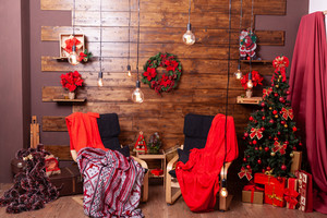 Beautiful red Christmas inteior and cozy place. Christmas celebration
