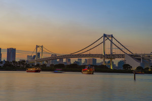 beautiful scenic twilight time of rainbow bridge odaiba harbor tokyo  japan