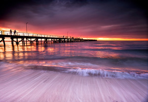 Beautiful Sunset at Semaphore Beach, South Australia