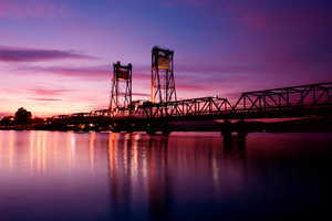Beautiful Sunset over a bridge at Batemans Bay