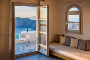 Beautiful View from inside a room overlooking Santorini