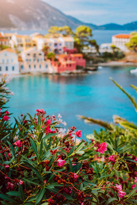 Beautiful view of Assos village with vivid colorful houses near blue turquoise colored and transparent bay lagoon. Kefalonia, Greece