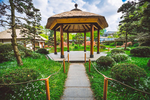 Beautiful view of Japanese Garden at Planten un Blomen, is an urban park in Hamburg
