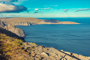 Beautiful view of Knivskjellodden in the Barents sea from North Cape, Norway