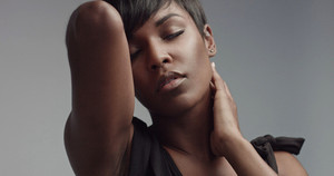 beauty black woman portrait closeup short haircut, softlight