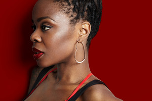 beauty black woman's profile on a red