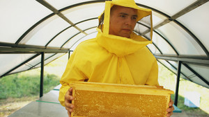 beekeeper man walking with wooden frames working in apiary