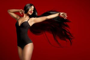 beuaty black woman in wig Hair extencion concept