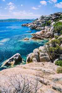Bizarre granite rocks formation and clear azure sea on beautiful Sardinia island, Sargedna, Italy
