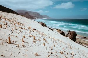 Bizarre sandstone formations in the lunar landscape on the coastline of Sao Vicente Island Cape Verde