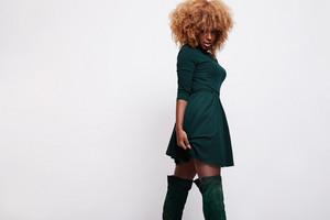 black blonde woman in studio shoot