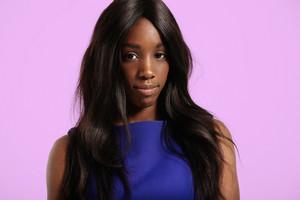 black woman's portrait. long healthe straight hair