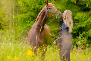 Blonde woman standing in a meadow kissing her arabian horse