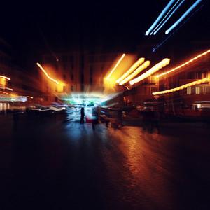 Blur abstract unusual light photo in dark