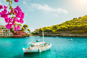 Branch of magenta blossom fuchsia flower. Fishing boat in tranquil bay, picturesque colorful houses and pine groves in soft focus. Kefalonia Greece Assos village
