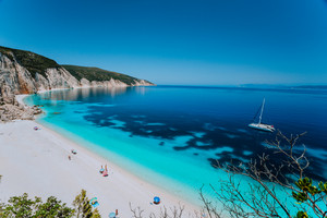 Breathtaking view of famous Fteri beach, Kefalonia, Greece Ionian islands. Summer adventure vacation holiday luxury travel romantic honeymooning concept. Must see place