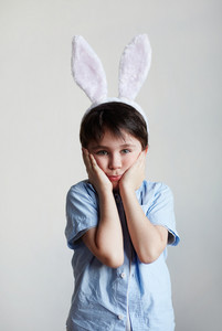 Bunny child expressing confusion or amaze