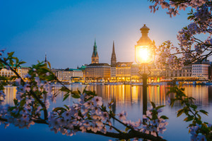 Burn lantern in park with branches of cherry blossom flowers on beautiful Alster river and Hamburg town hall - Rathaus on evening twilight