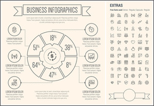 Business infographic template and elements. The template includes the following set of icons - piggy bank, target board, bag of money, portfolio, shield, heart and more. Modern minimalistic flat thin line vector design.