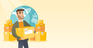 Business man holding box on the background of world map and packages. Man working in international delivery service. International delivery concept. Vector flat design illustration. Horizontal layout.