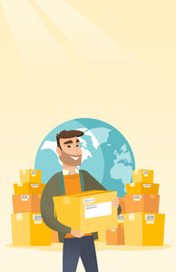 Business man holding box on the background of world map and packages. Man working in international delivery service. International delivery concept. Vector flat design illustration. Vertical layout.