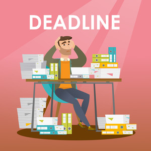 Business man sitting at the table with stacks of papers and clutching head because of a missed deadline. Business man has a problem with a deadline. Vector flat design illustration. Square layout.
