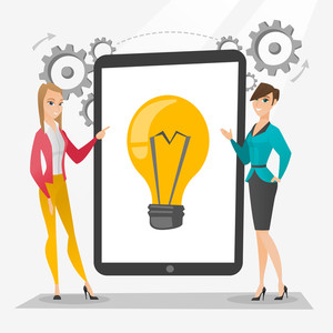 Business partners working on new business idea. Caucasian business women discussing business ideas. Businesswomen pointing at idea bulb on tablet screen. Vector flat design illustration. Square layout