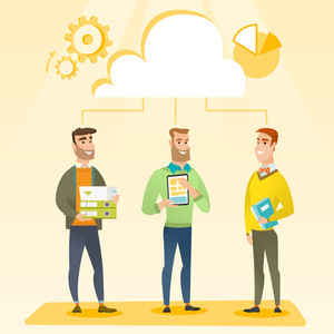 Business team standing under cloud. Caucasian business team using cloud computing technologies. Concept of cloud computing, teamwork and brainstorming. Vector flat design illustration. Square layout.