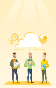 Business team standing under cloud. Caucasian business team using cloud computing technologies. Concept of cloud computing, teamwork and brainstorming. Vector flat design illustration. Vertical layout