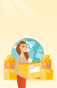Business woman holding box on the background of globe and packages. Woman working in international delivery service. International delivery concept. Vector flat design illustration. Vertical layout.