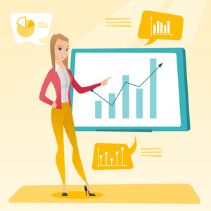 Business woman presenting review of financial data. Business woman pointing at board with financial data. Business woman explaining financial data. Vector flat design illustration. Square layout.