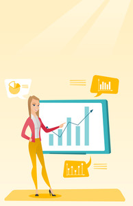 Business woman presenting review of financial data. Business woman pointing at board with financial data. Business woman explaining financial data. Vector flat design illustration. Vertical layout.