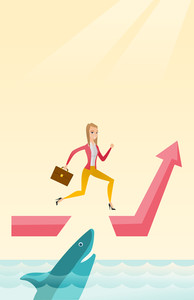 Business woman running on ascending graph and jumping over gap. Businessman jumping over ocean with shark. Business growth and business risks concept. Vector flat design illustration. Vertical layout.
