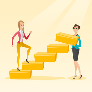 Business woman runs up the career ladder while another woman builds this ladder. Business woman climbing the career ladder. Concept of business career. Vector flat design illustration. Square layout.
