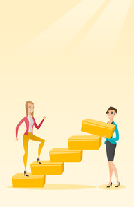 Business woman runs up the career ladder while another woman builds this ladder. Business woman climbing the career ladder. Concept of business career. Vector flat design illustration. Vertical layout